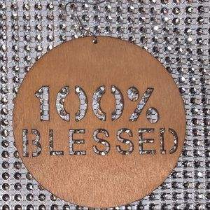 "Jewelry - ""100% Blessed"" wooden earrings"